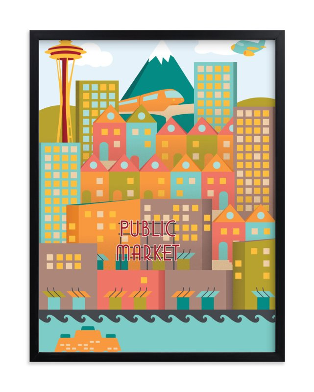 """Vintage Seattle"" - Art Print by Devon J. Carlson in beautiful frame options and a variety of sizes."