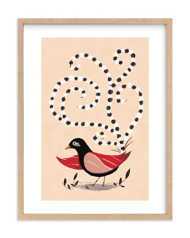 """""""Dotted Bird"""" - Limited Edition Art Print by Morgan Ramberg in beautiful frame options and a variety of sizes."""