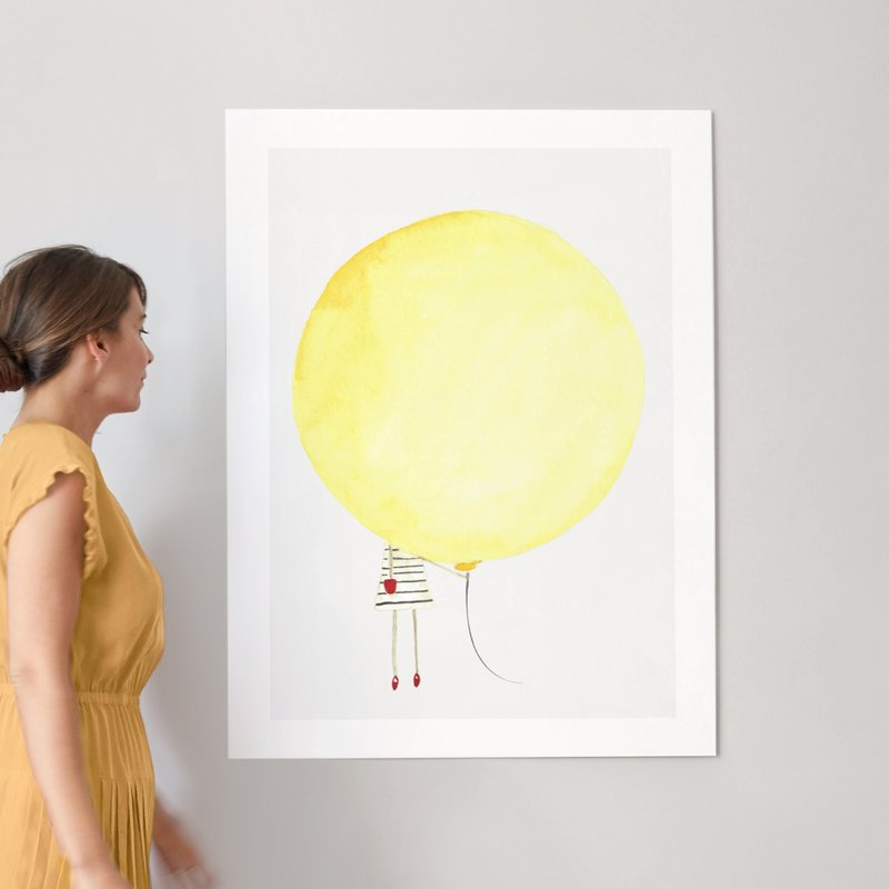 The Girl and the Giant Balloon Wall Art Prints by Monica Loos | Minted
