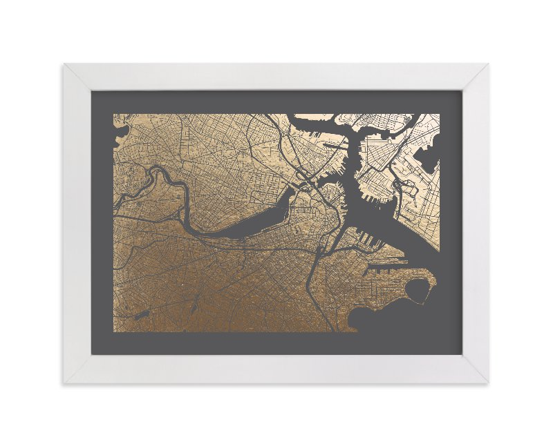 Boston Wall Art boston map foil-pressed wall artalex elko design | minted