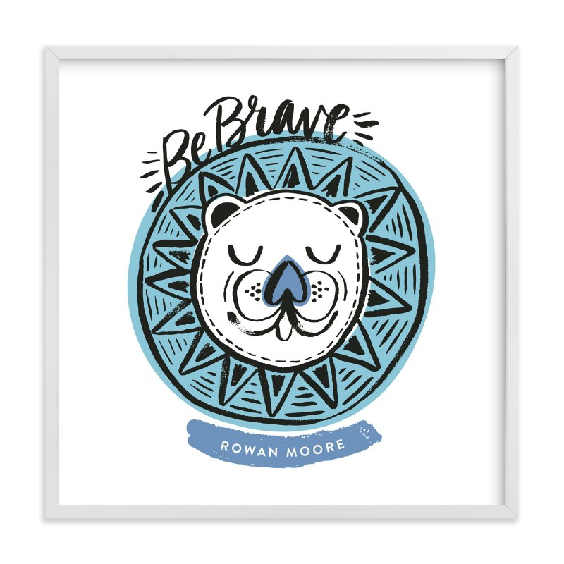 """Be Brave Geo Lion"" - Children's Custom Art Print by Alethea and Ruth in beautiful frame options and a variety of sizes."