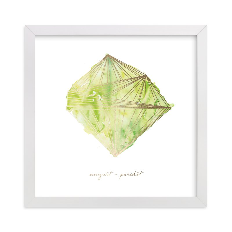 """""""August - Peridot"""" - Foil-pressed Art Print by Naomi Ernest in beautiful frame options and a variety of sizes."""