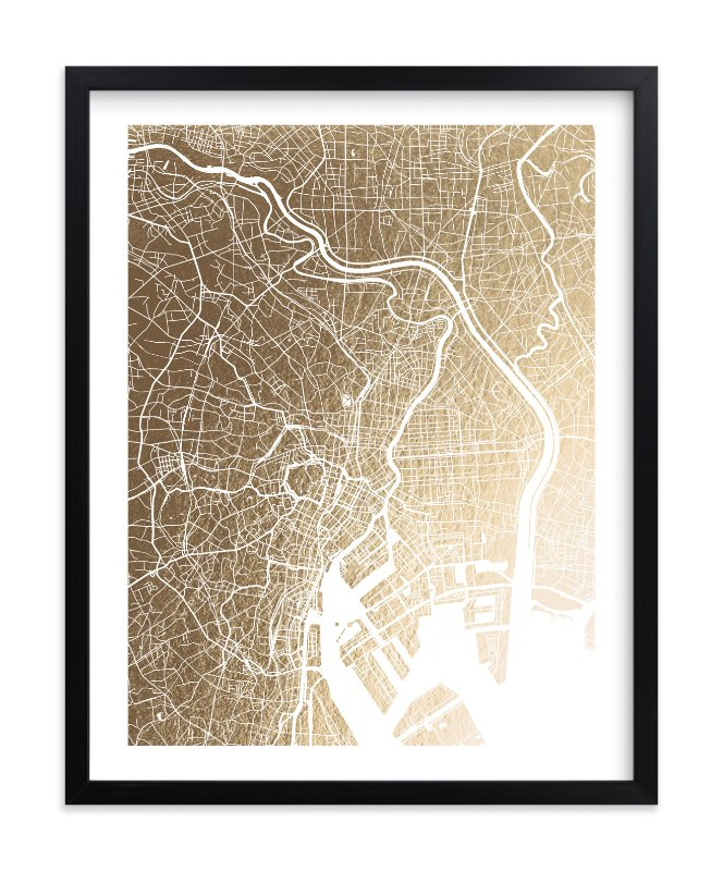 """""""Tokyo Map"""" - Foil-pressed Art Print by Alex Elko Design in beautiful frame options and a variety of sizes."""