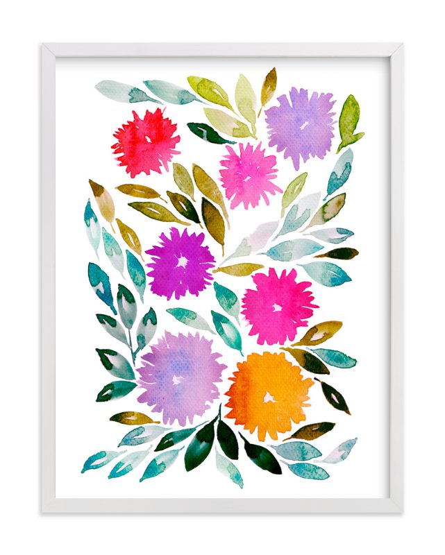 """hand painted flowers_2C"" - Art Print by aticnomar in beautiful frame options and a variety of sizes."