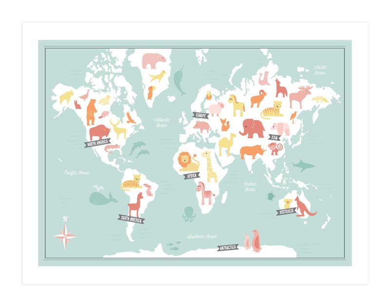 Animal world map wall art prints by jessie steury minted gumiabroncs Images