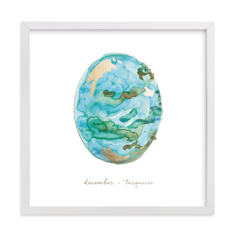"""December - Turquoise"" - Foil-pressed Art Print by Naomi Ernest in beautiful frame options and a variety of sizes."