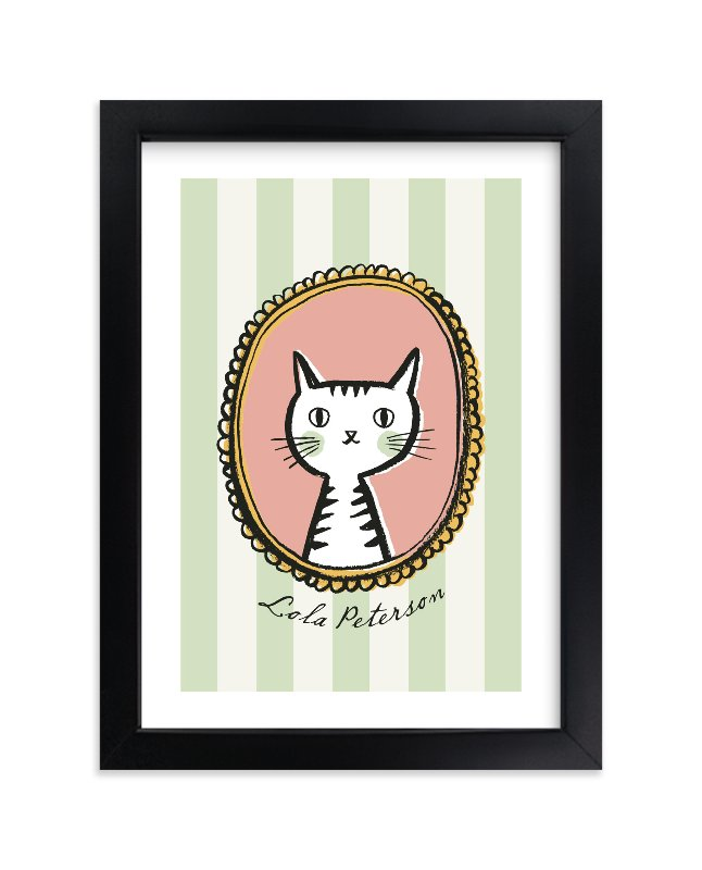 """Whiskers"" - Children's Custom Art Print by j.bartyn in beautiful frame options and a variety of sizes."