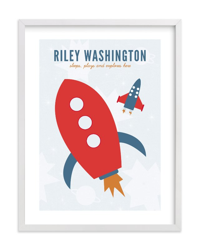 """Rocket"" - Nursery Custom Art Print by Sharon Rowan in beautiful frame options and a variety of sizes."