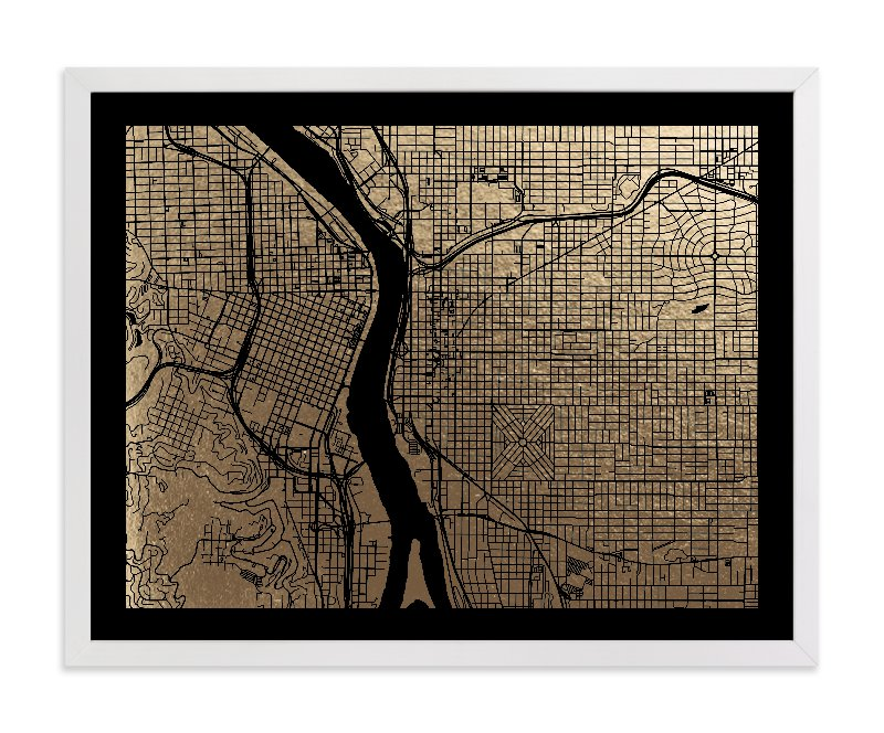"""Portland Map"" - Foil-pressed Art Print by Alex Elko Design in beautiful frame options and a variety of sizes."