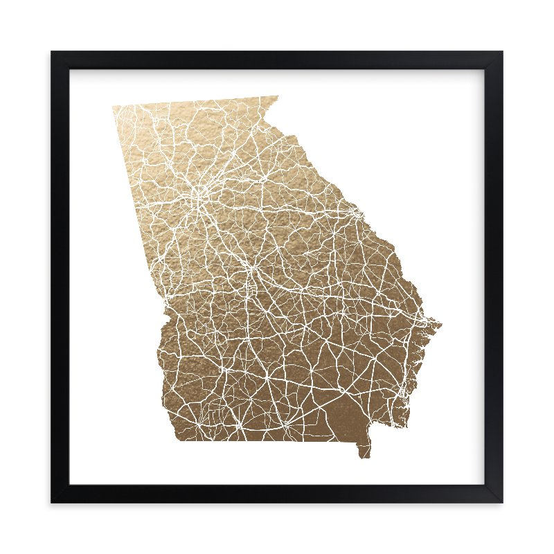 """""""Georgia Map - Filled"""" - Foil-pressed Art Print by GeekInk Design in beautiful frame options and a variety of sizes."""