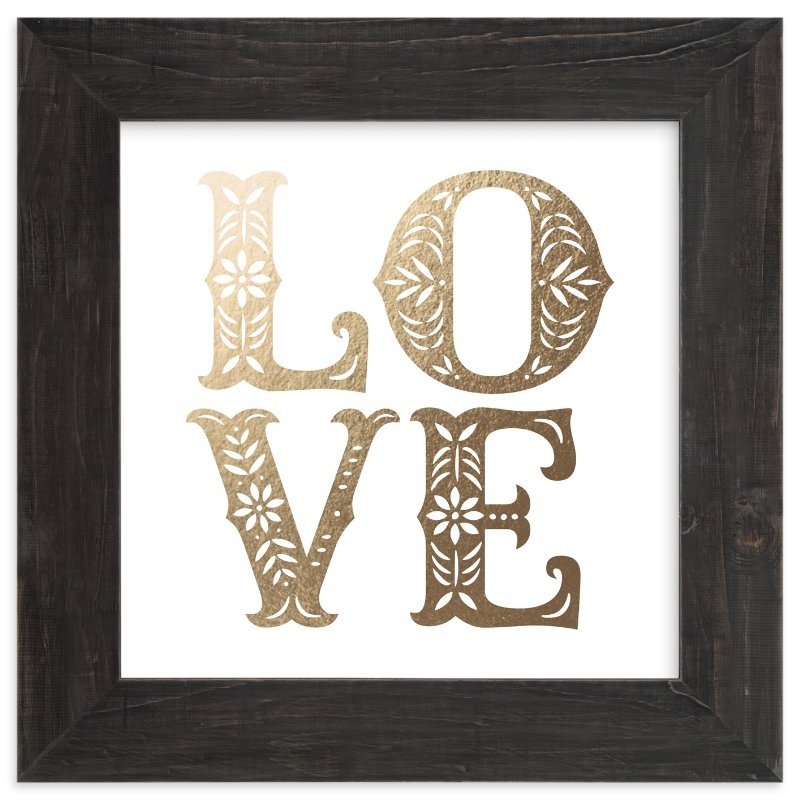 """Papercut Love"" - Foil-pressed Art Print by Hooray Creative in beautiful frame options and a variety of sizes."