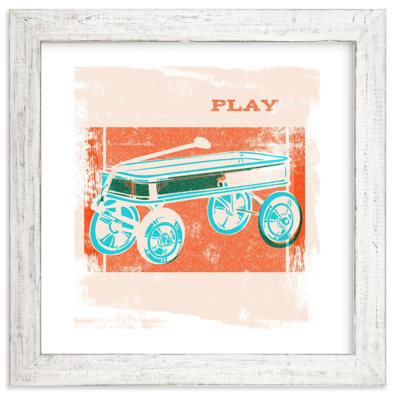 """Red Wagon"" - Art Print by Anne Crosse in beautiful frame options and a variety of sizes."