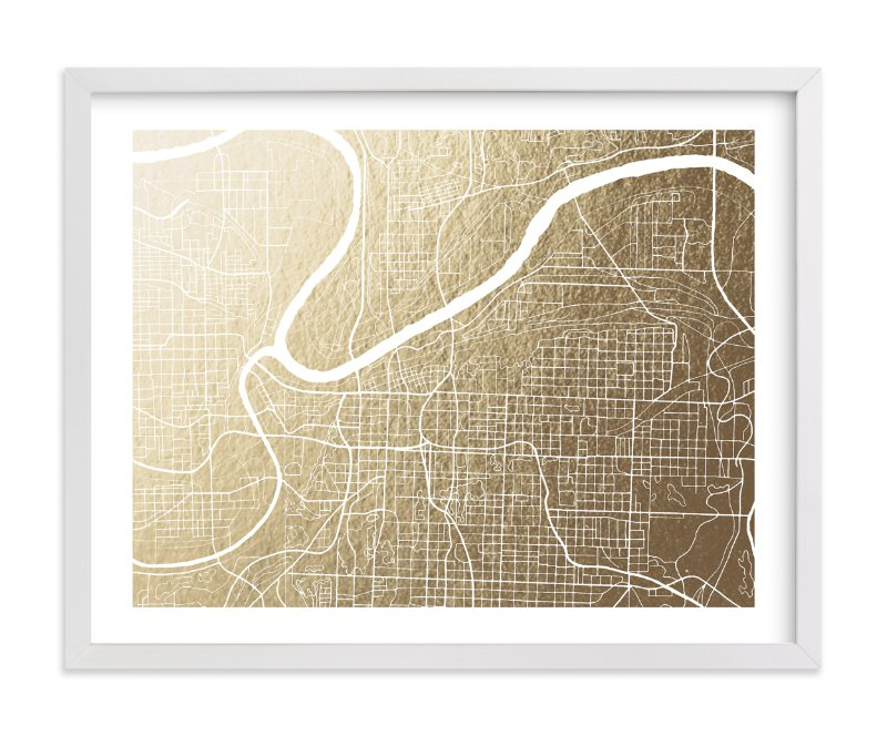 """""""Kansas City Map"""" - Foil-pressed Art Print by Griffinbell Paper Co. in beautiful frame options and a variety of sizes."""
