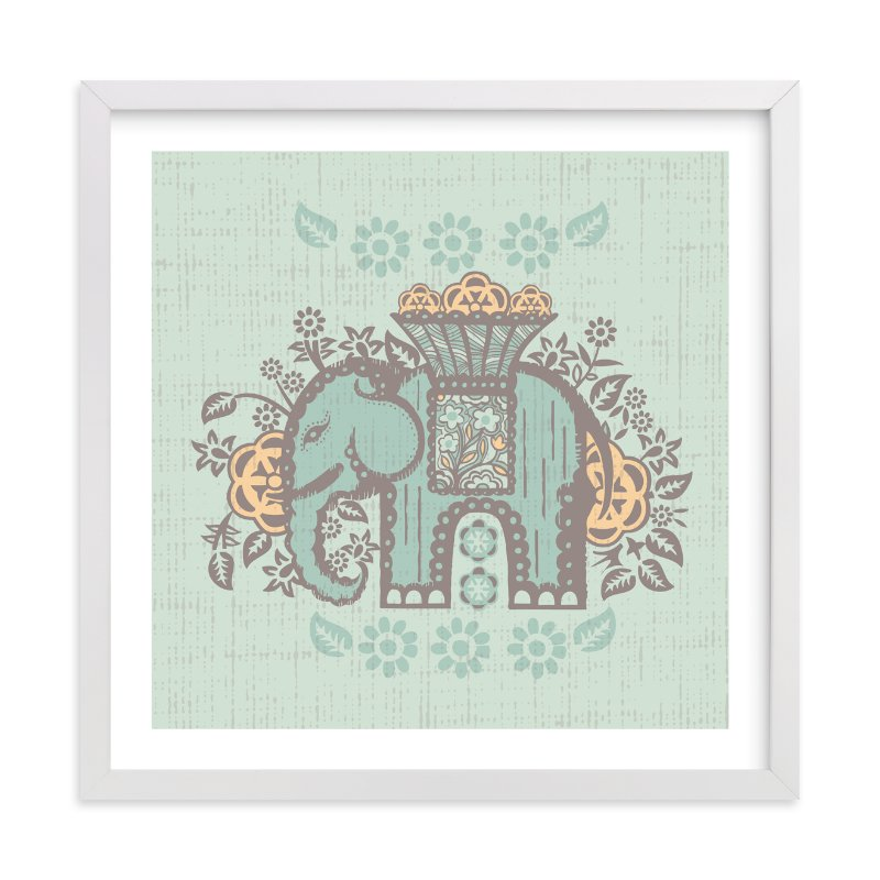 """""""Elephant Flowers"""" - Art Print by Anne Crosse in beautiful frame options and a variety of sizes."""