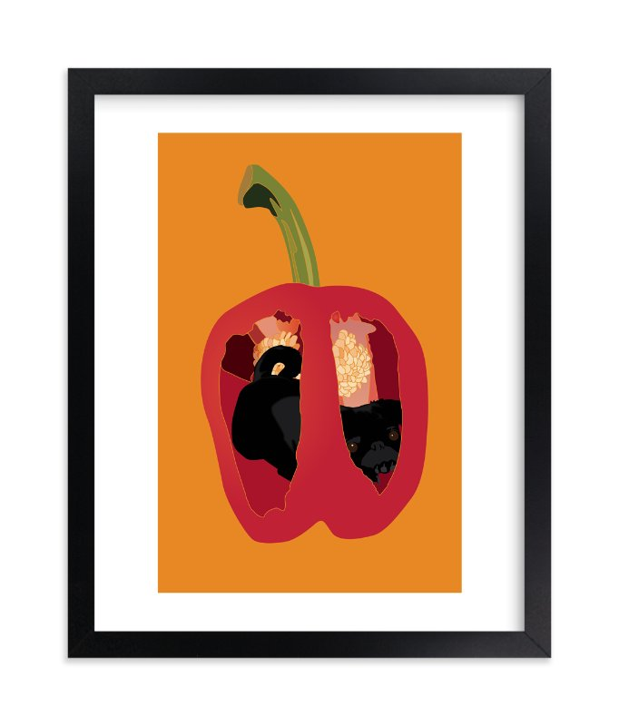 """There's a Pug in my Pepper"" - Art Print by Pat Jennings in beautiful frame options and a variety of sizes."