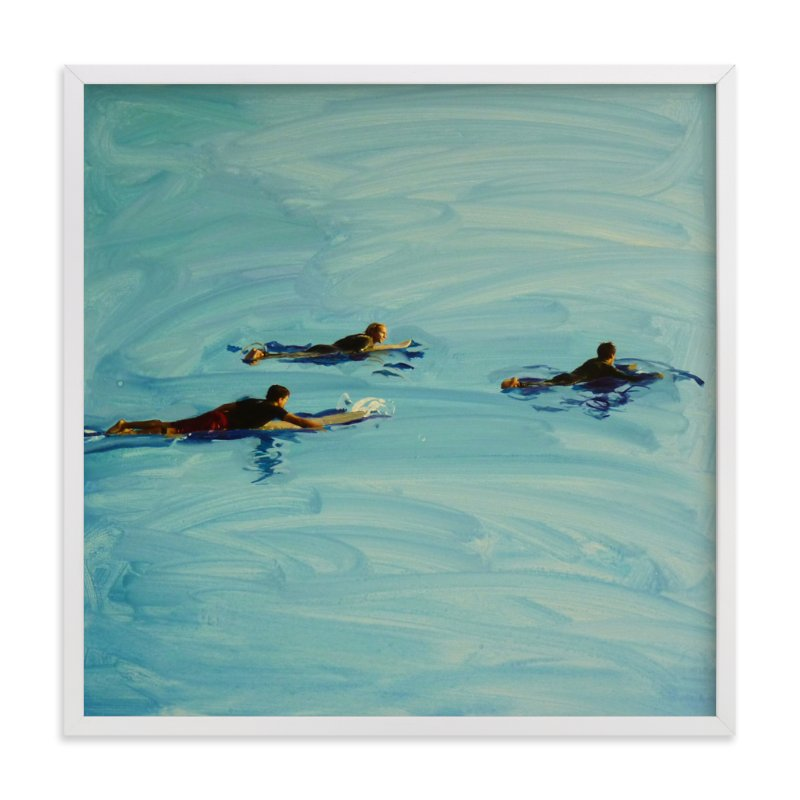 """""""Paddling Out"""" - Art Print by Annie Seaton in beautiful frame options and a variety of sizes."""