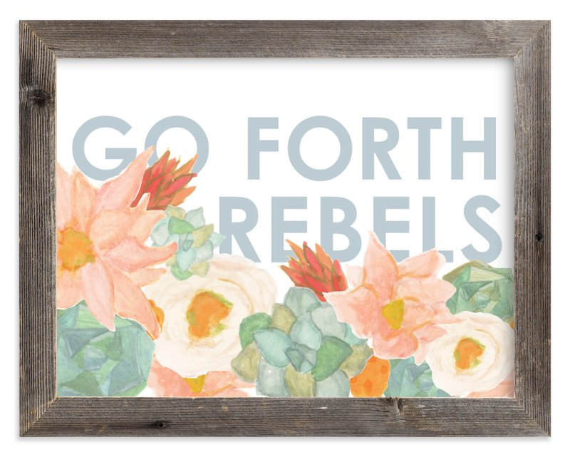 """""""Go Forth Rebels Blooms"""" - Art Print by Kate Wong in beautiful frame options and a variety of sizes."""