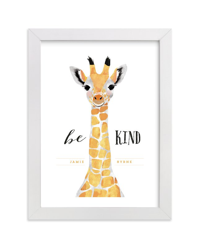 """baby animal.giraffe"" - Children's Custom Art Print by Cass Loh in beautiful frame options and a variety of sizes."
