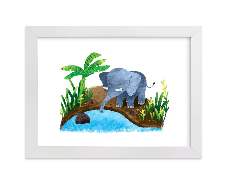 """""""Elephant in the River"""" - Art Print by Evelline Andrya in beautiful frame options and a variety of sizes."""