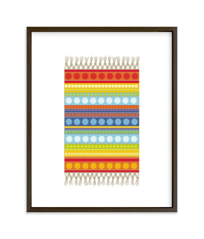 """""""Boho Floral Rug"""" - Art Print by Jan Shepherd in beautiful frame options and a variety of sizes."""