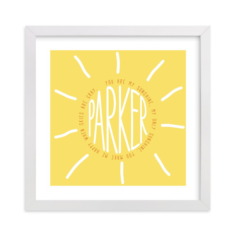 """""""You Are My Sunshine"""" - Children's Custom Art Print by Refound Nostalgia in beautiful frame options and a variety of sizes."""
