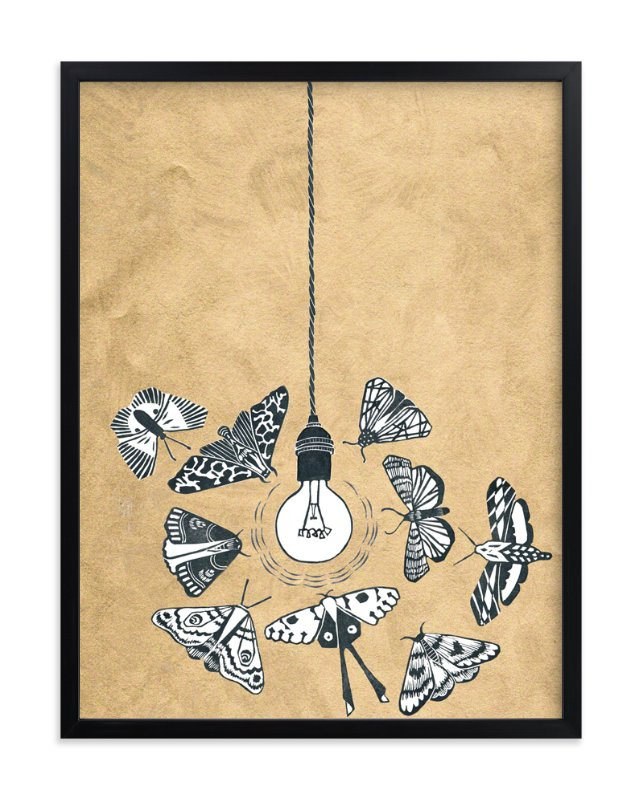 """""""Like Moths to a Light"""" - Art Print by Miriam Tribe in beautiful frame options and a variety of sizes."""