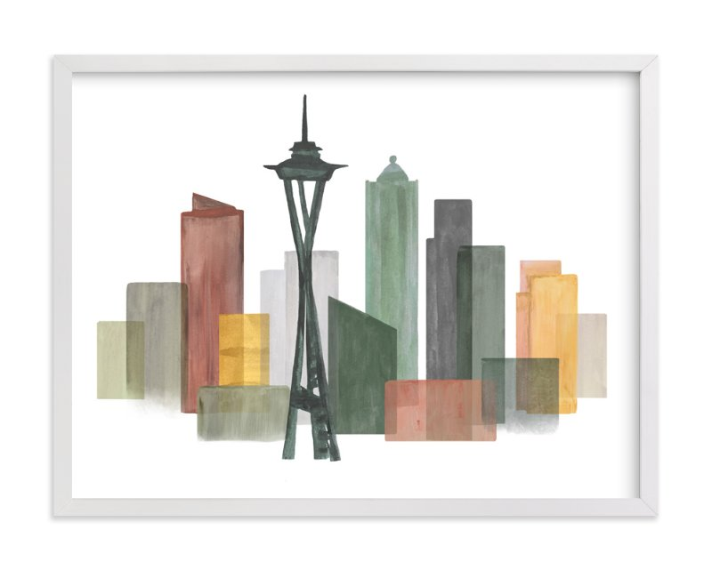 """""""Skyline Seattle"""" - Art Print by Katherine Moynagh in beautiful frame options and a variety of sizes."""
