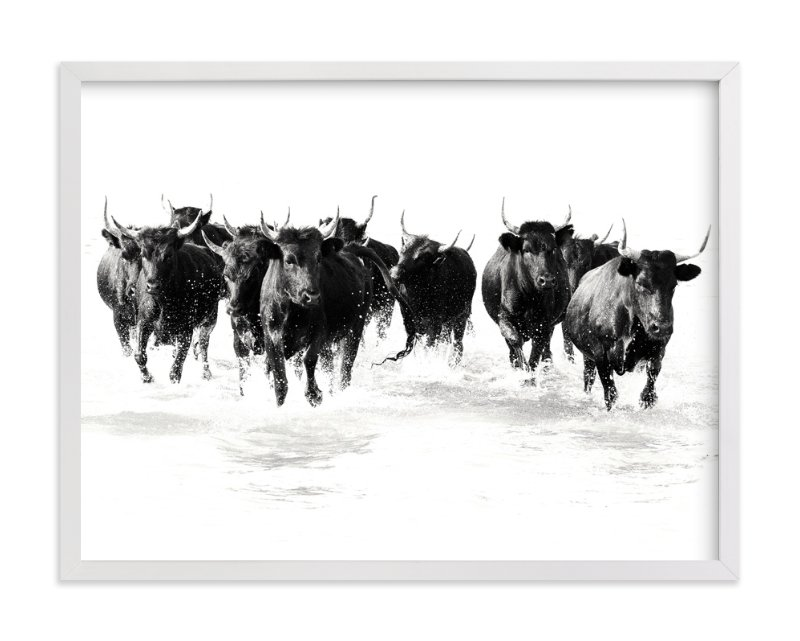 """""""Black Bulls of the Camargue"""" - Art Print by Michelle Detering in beautiful frame options and a variety of sizes."""