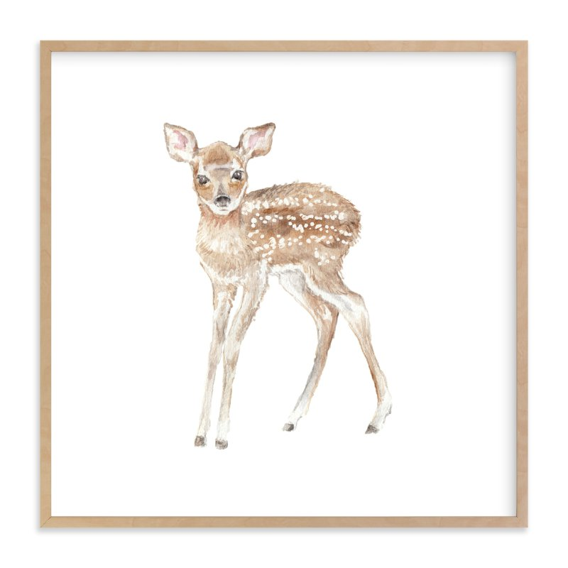 """watercolor fawn"" - Art Print by Lauren Rogoff in beautiful frame options and a variety of sizes."