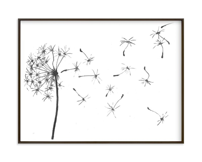 """""""dandelion in charcoal..."""" - Art Print by aeryn donnelly design in beautiful frame options and a variety of sizes."""