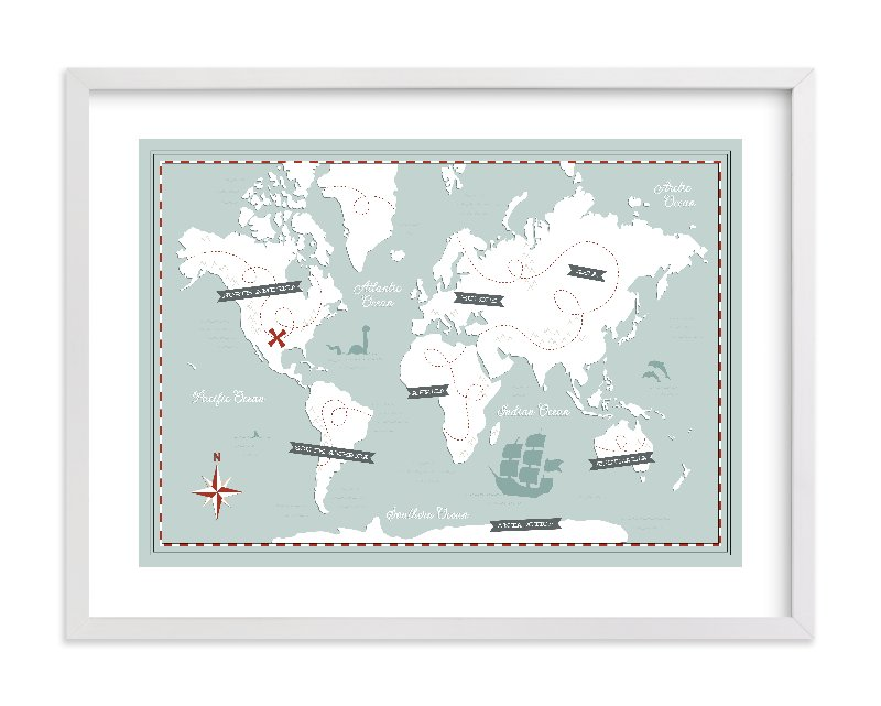 """""""Treasure Map"""" - Limited Edition Art Print by Jessie Steury in beautiful frame options and a variety of sizes."""