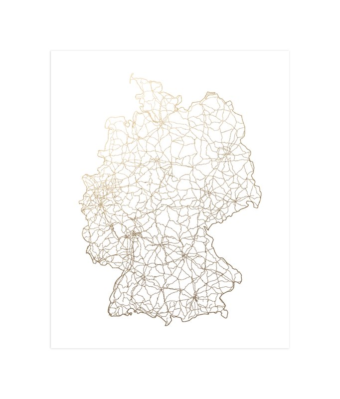 Germany Map Foil Pressed Wall Art By Geekink Design Minted