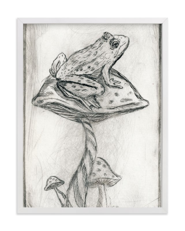 """""""Toad on Mushroom Monoprint"""" - Art Print by Marta Berk in beautiful frame options and a variety of sizes."""