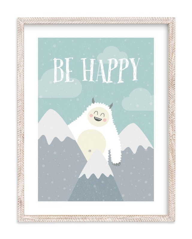 """Be Happy Yeti"" - Art Print by Chelsey Scott in beautiful frame options and a variety of sizes."