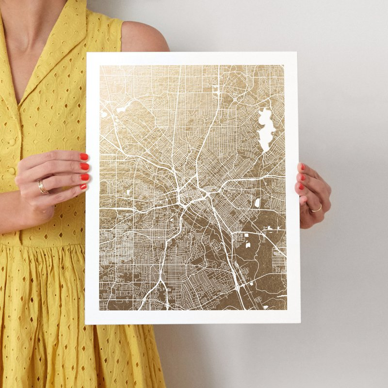 For Scale Dallas Map Foil Pressed Wall Art