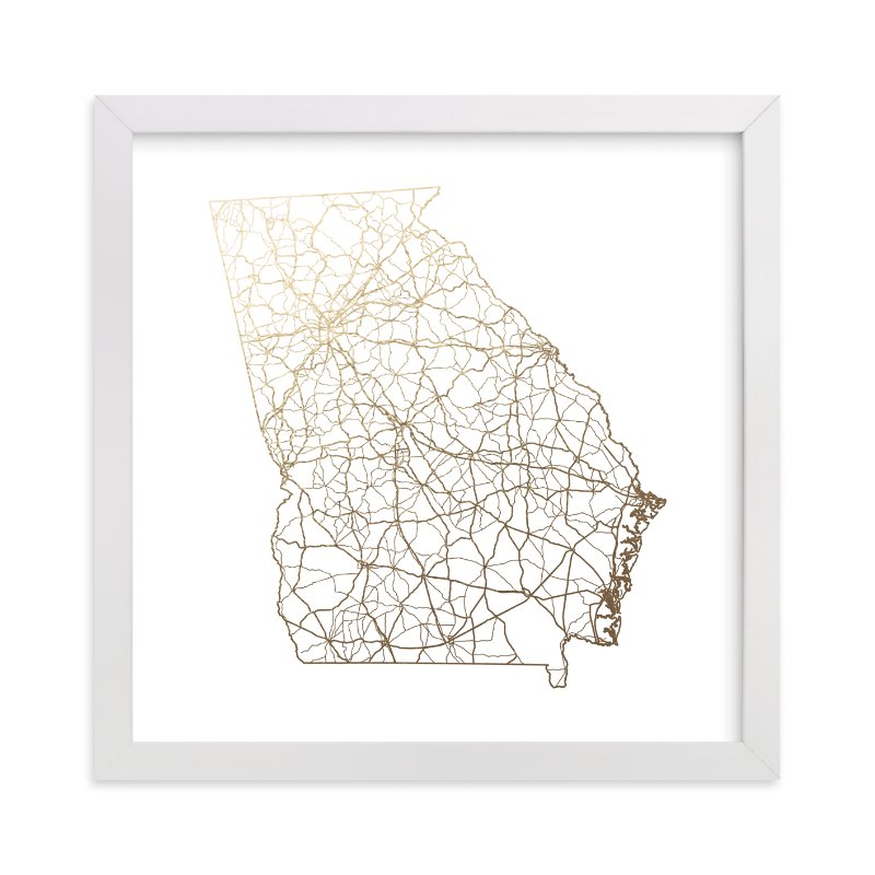 """""""Georgia Map"""" - Foil-pressed Art Print by GeekInk Design in beautiful frame options and a variety of sizes."""