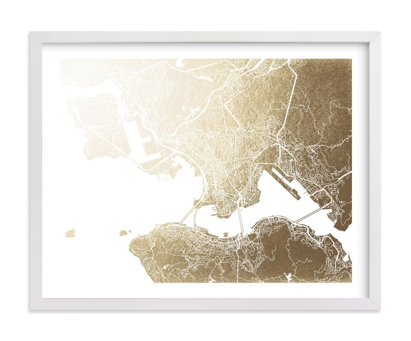 """Hong Kong Map"" - Foil-pressed Art Print by Snow and Ivy in beautiful frame options and a variety of sizes."