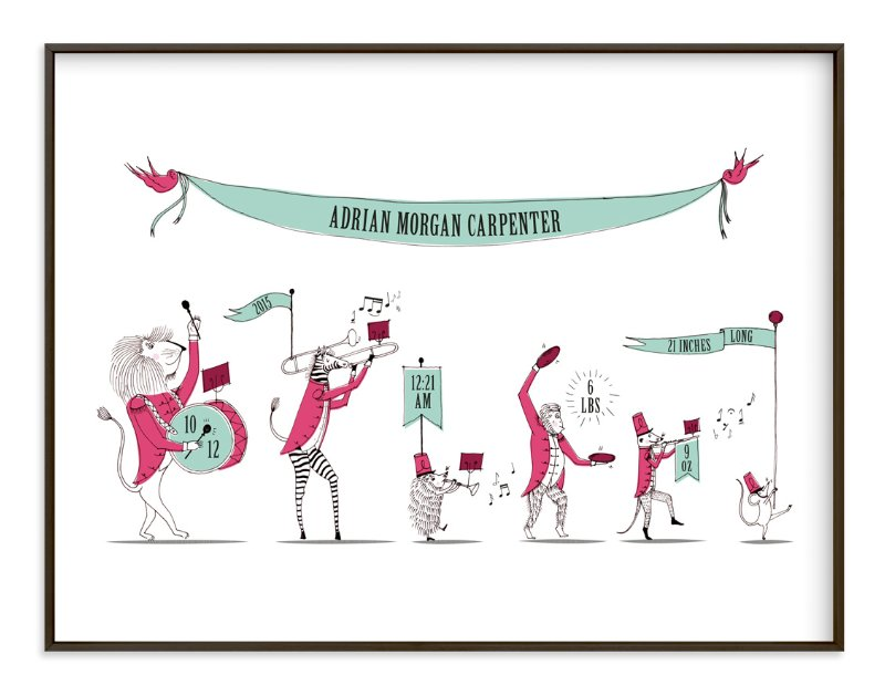 """""""Zoo on Parade"""" - Nursery Custom Art Print by Kayla King in beautiful frame options and a variety of sizes."""