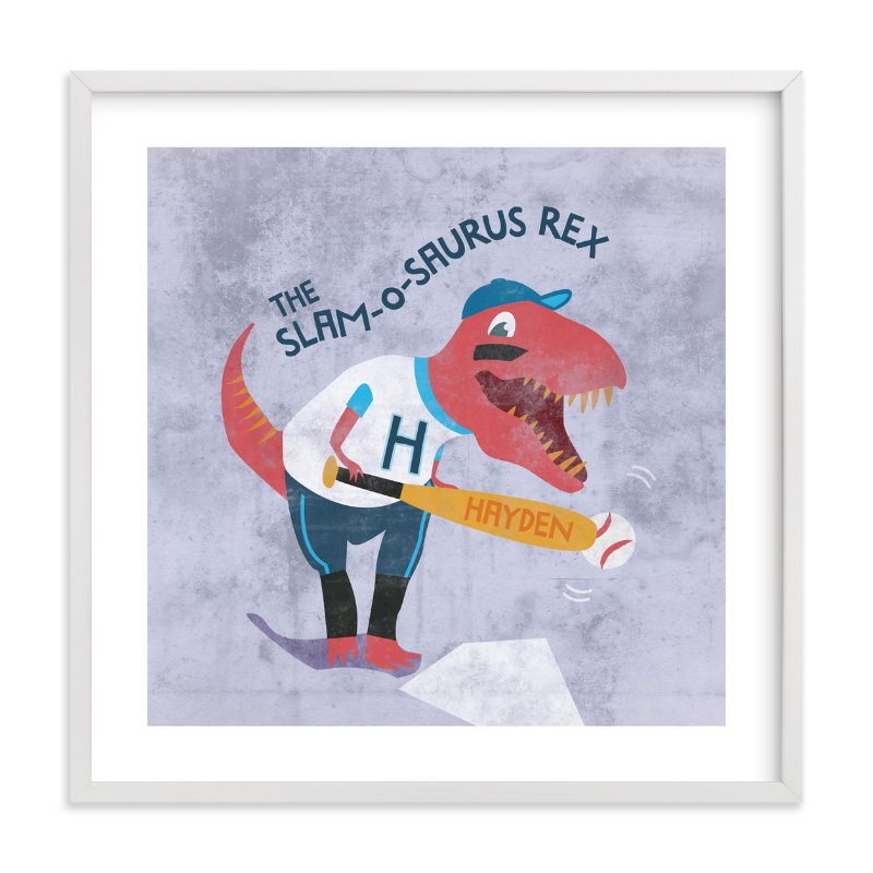 """Grand Slam-o-saurus Rex"" - Children's Custom Art Print by Frooted Design in beautiful frame options and a variety of sizes."