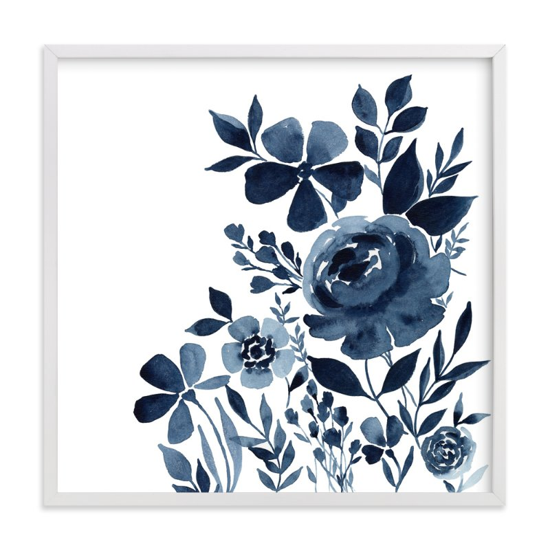 """Moonlit Indigo Garden"" - Art Print by Stephanie Ryan in beautiful frame options and a variety of sizes."