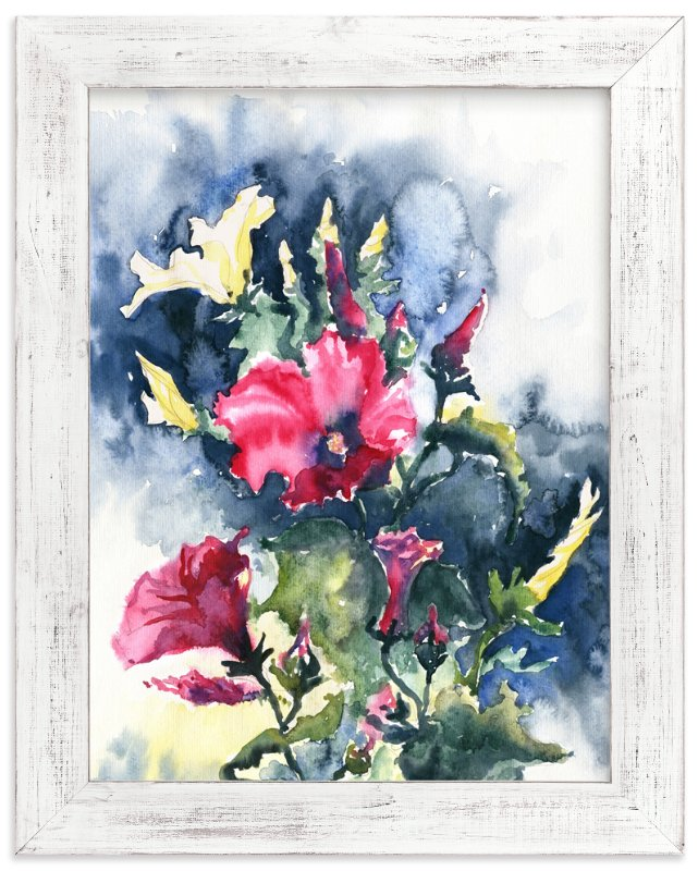 """""""Morning Glory pink and yellow"""" - Art Print by Eva Marion in beautiful frame options and a variety of sizes."""