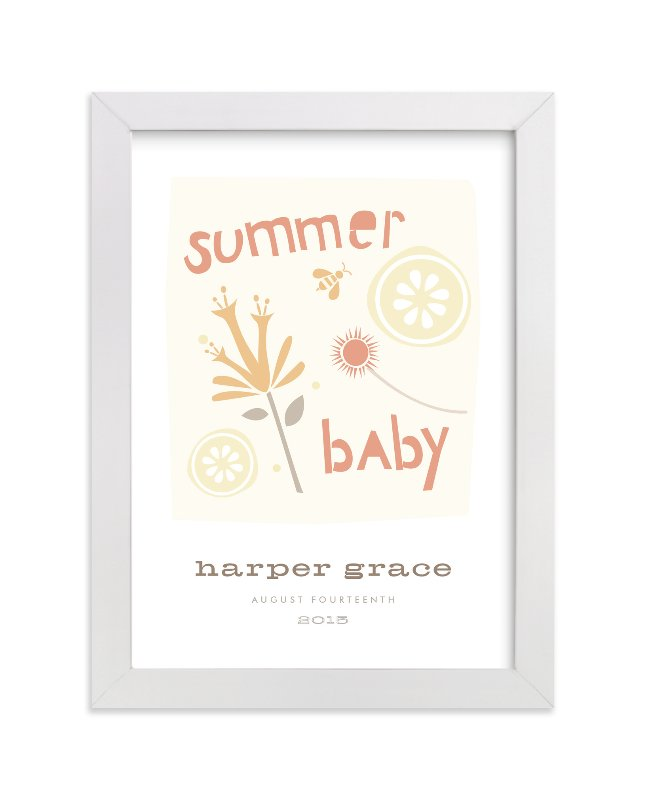 """Summer Baby"" - Nursery Custom Art Print by Carolyn MacLaren in beautiful frame options and a variety of sizes."