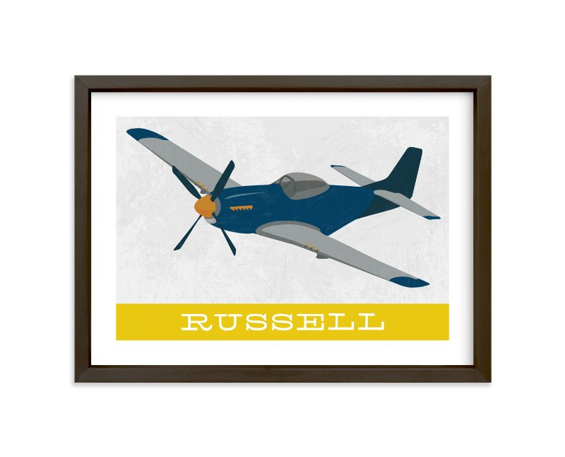 """P51 Mustang"" - Children's Custom Art Print by Danie Romrell in beautiful frame options and a variety of sizes."