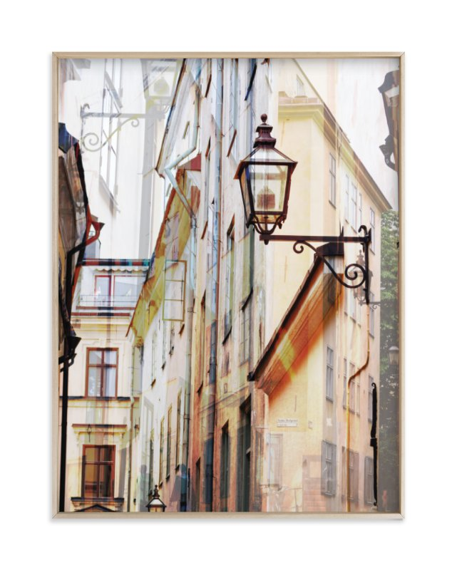 """Narrow streets of open Gamla Stan"" - Art Print by Bethania Lima in beautiful frame options and a variety of sizes."