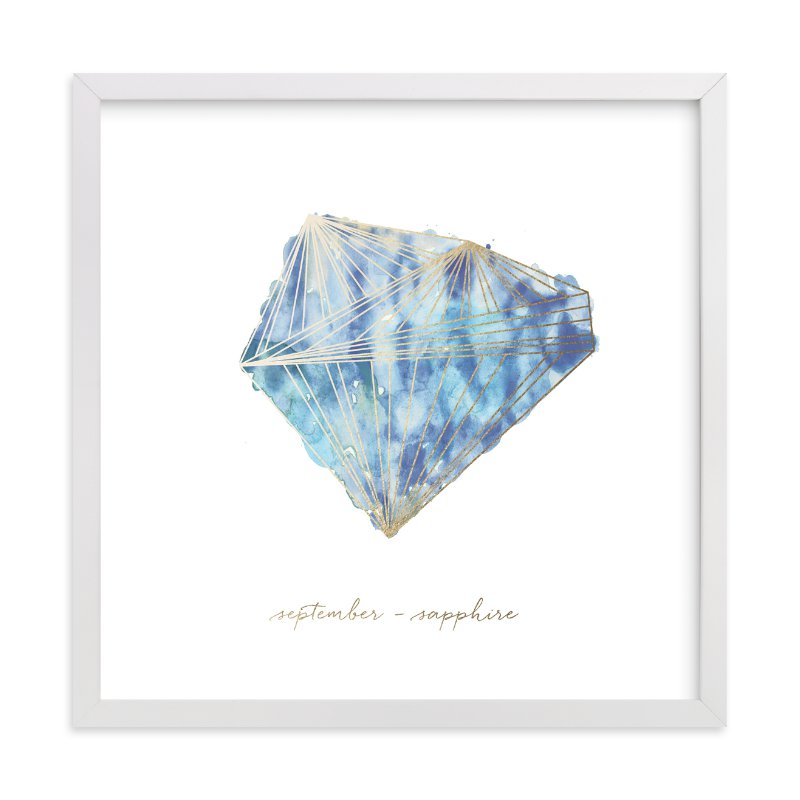 """September - Sapphire"" - Foil-pressed Art Print by Naomi Ernest in beautiful frame options and a variety of sizes."