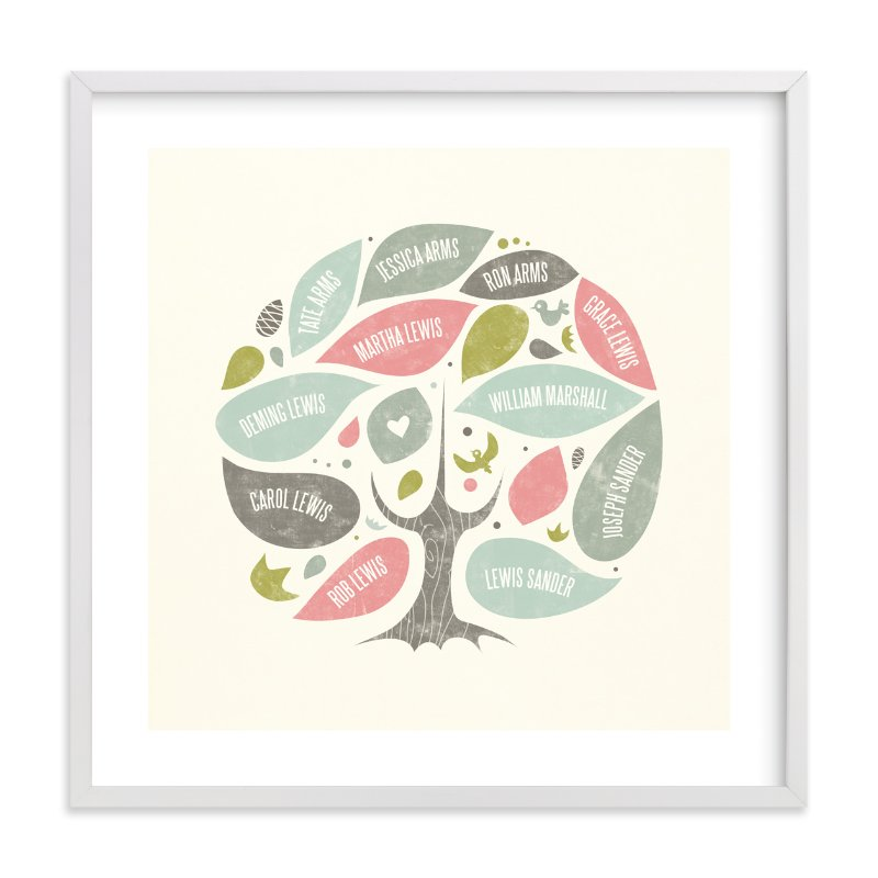 """Folk Family Tree"" - Family Tree Custom Art Print by Heather Francisco in beautiful frame options and a variety of sizes."