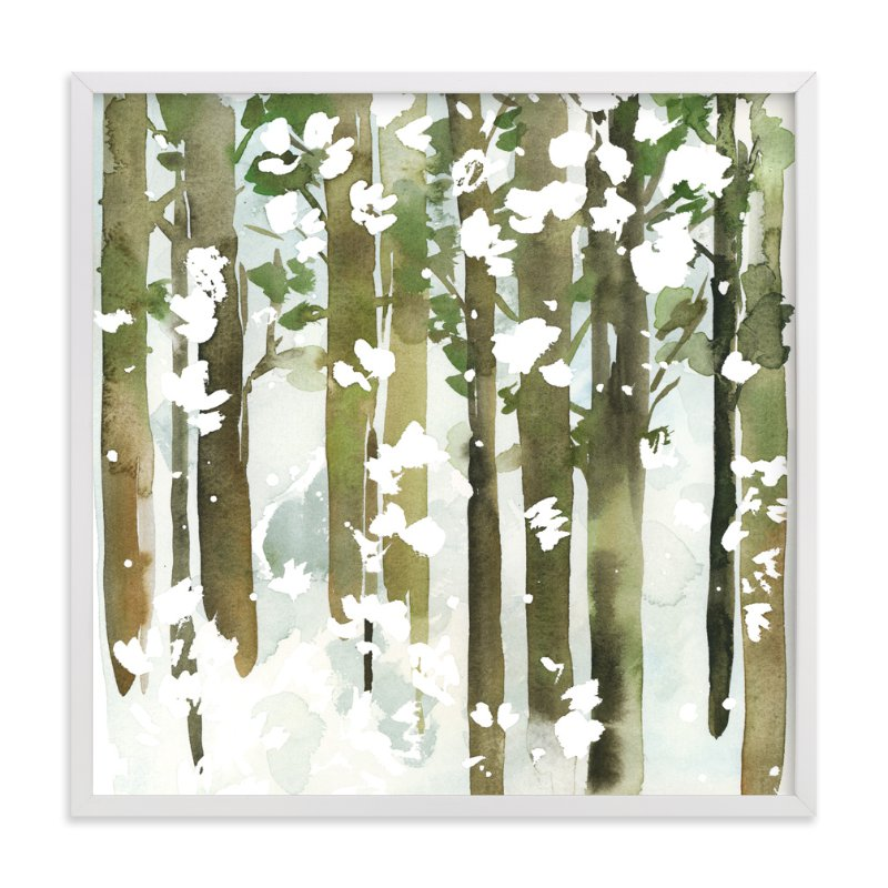"""Forest Snow- Square"" - Art Print by Yao Cheng Design in beautiful frame options and a variety of sizes."