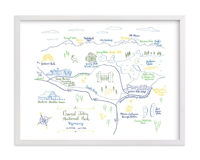 """""""Grand Teton National Park Map"""" - Art Print by Megan Kelso in beautiful frame options and a variety of sizes."""