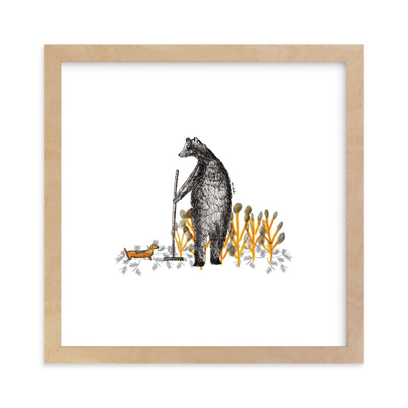 """Bear and autumn leaves"" - Limited Edition Art Print by Ave Estudio in beautiful frame options and a variety of sizes."