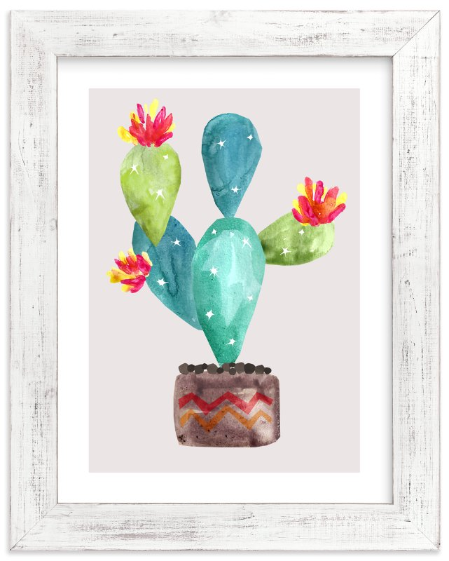 """Cactus-In-Bloom"" - Limited Edition Art Print by Daniela in beautiful frame options and a variety of sizes."